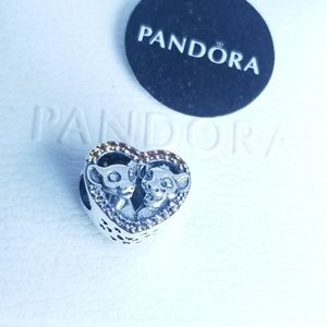 Disney, Sparkling Simba & Nala Heart Charm Silver